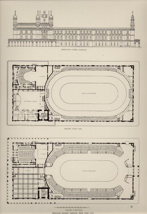 Deco Dogs Ephemera architectural prints – Madison Square Garden Plan